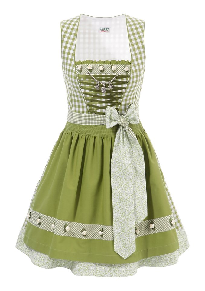 Dirndl, Country Line in weiß-oliv