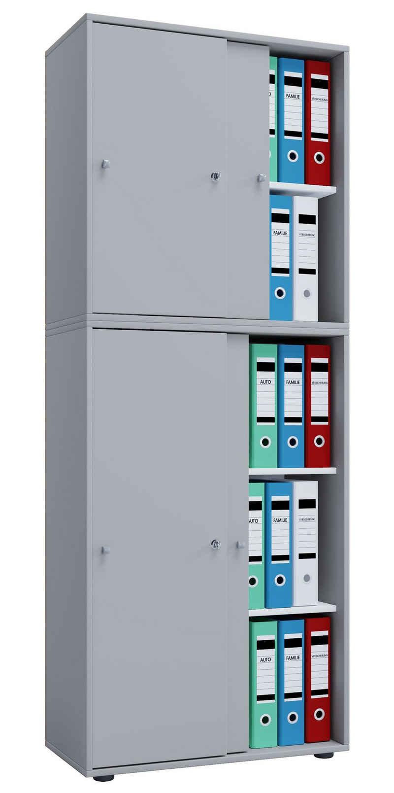 VCM Aktenschrank »Holz Büroschrank Aktenregal Lona 5 Fächer Schiebetüren«