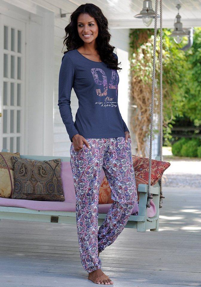 s.Oliver RED LABEL Bodywear Pyjama mit mehrfarbigem Paisleymuster in blau gemustert