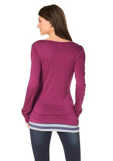 Ocean Sportswear Layershirt, Raffung am Ärmelsaum
