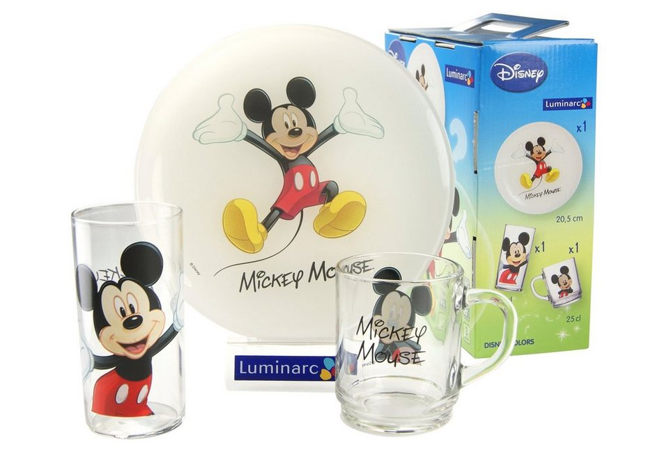 Kinderservice, »Mickey«, Luminarc (3tlg.) in bunt