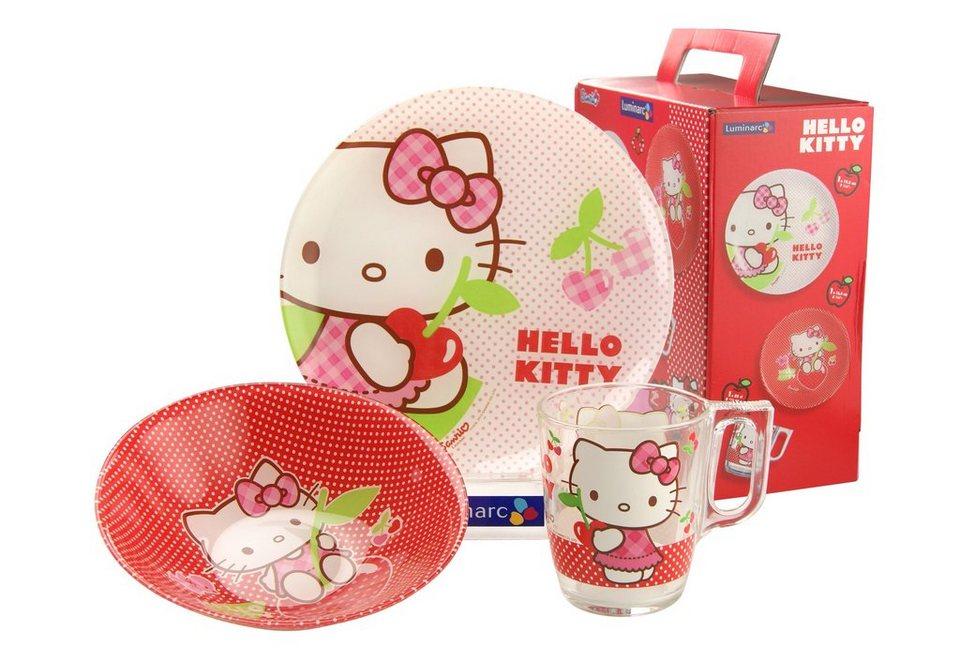 Kinderservice, »Hello Kitty«, Luminarc (3tlg.) in rot