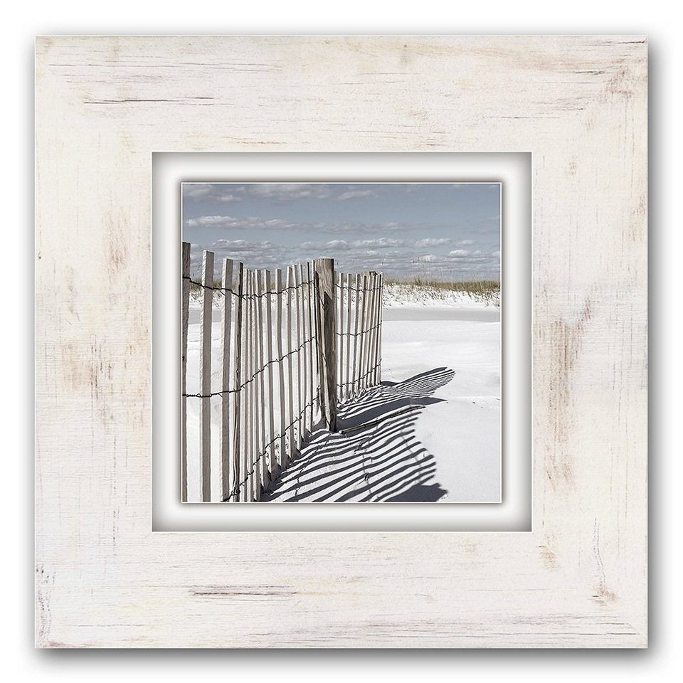 Holzbild, Home affaire, »Zaun am Strand«, 40/40 cm in creme
