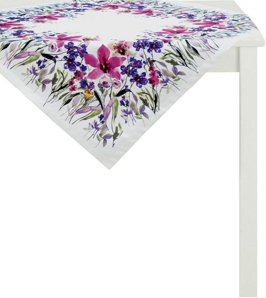 Mitteldecke, Apelt, »4060- Digitaldruck Blumenwiese« in weißer Fond/violett