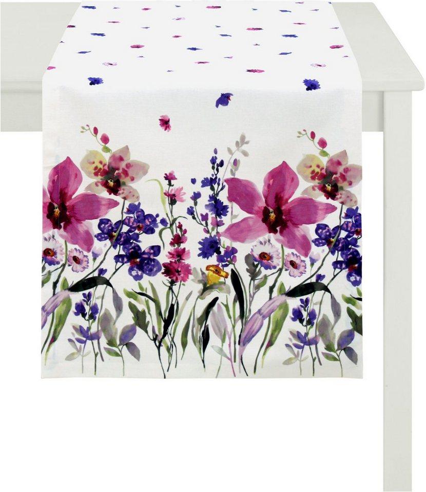 Tischläufer, Apelt, »4060- Digitaldruck Blumenwiese« in weißer Fond/violett