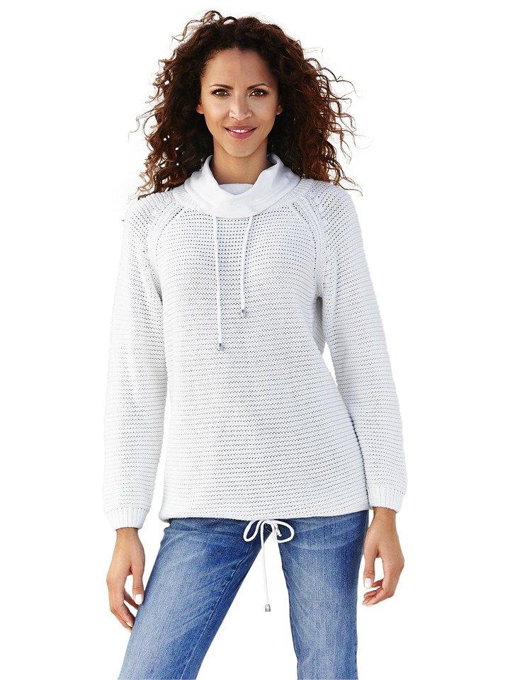 heine CASUAL Troyer Grobstrick mit Raglanärmel   Bekleidung > Pullover > Troyer   Weiß   Baumwolle   heine