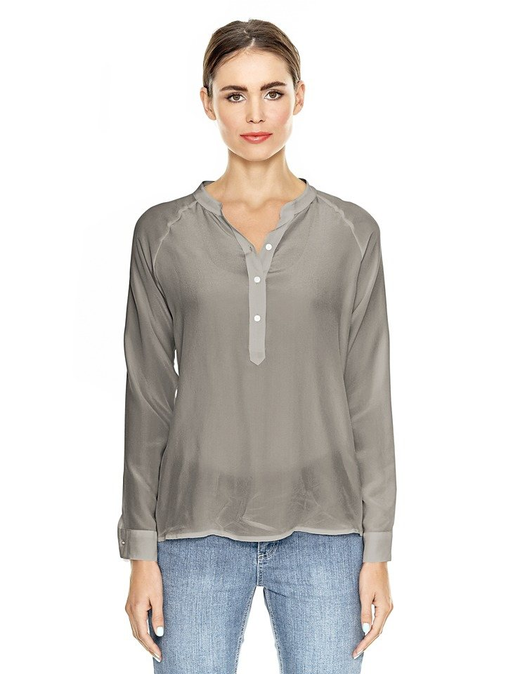 Seidenbluse in taupe