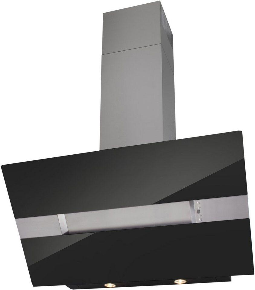 Glasschirm-Dunstabzugshaube in 60, 80 und 90 cm in schwarzglas