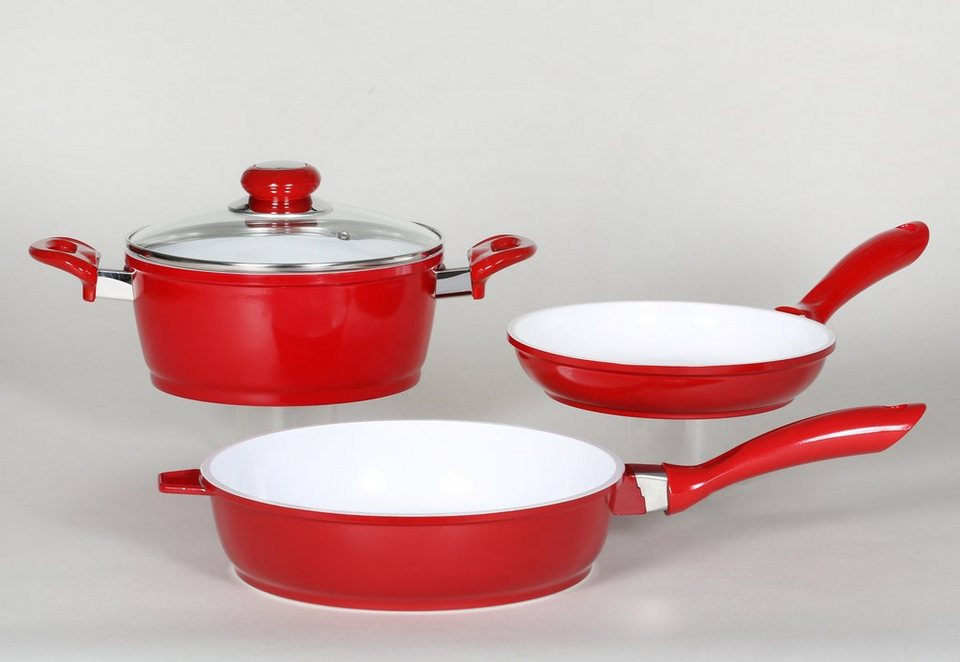 Aluguß-Kochset, Krüger (3tlg.) in rot
