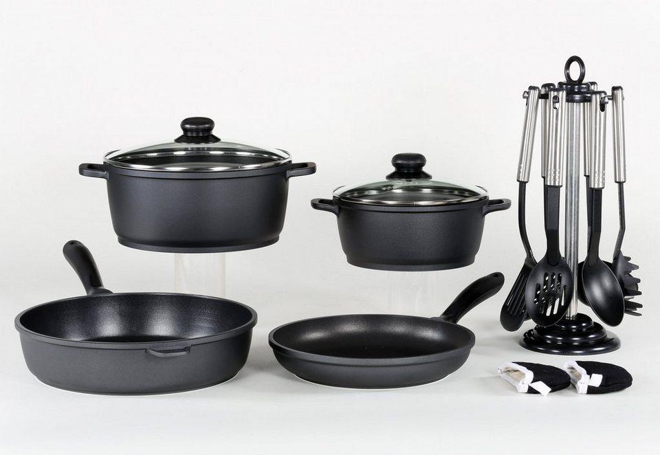 Aluguss-Kochserie 13-teilig, Krüger in schwarz