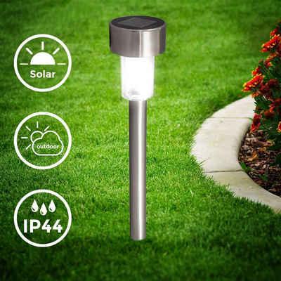 B.K.Licht Gartenstrahler, 12er-Set Solar LED-Außenleuchte, Ø55 mm, IP44 I Automatisch Ein/Aus, LED-Gartenlampe, Erdspießleuchte, Solarleuchte