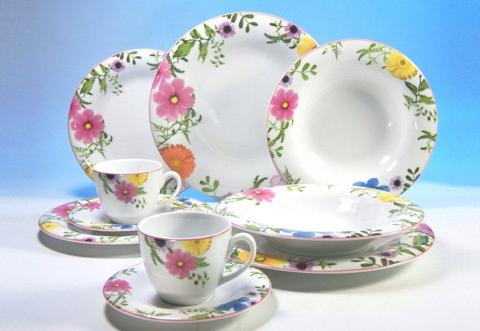 "Kombiservice ""SAMIRA"", CreaTable (30tlg.) in Weiß, mit buntem Blüten-Dekor"