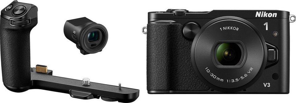 NIKON N1 V3 System Kamera inkl. NIKKOR Objektiv, elektronischer Sucher und Handgriff, 18,4 MP in schwarz