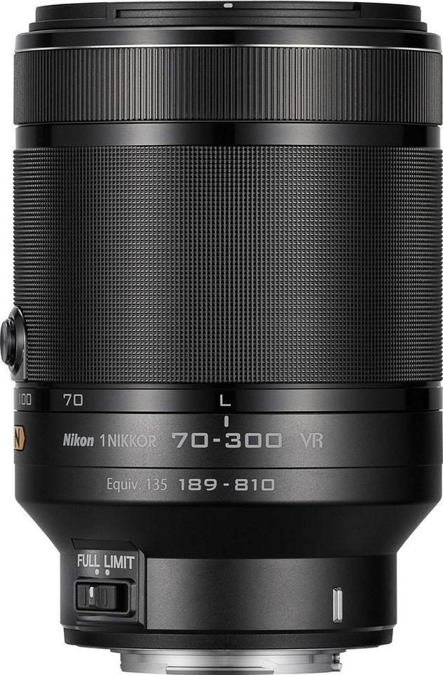 NIKON 1 NIKKOR VR 70–300 mm 1:4,5–5,6 Supertele Objektiv in schwarz