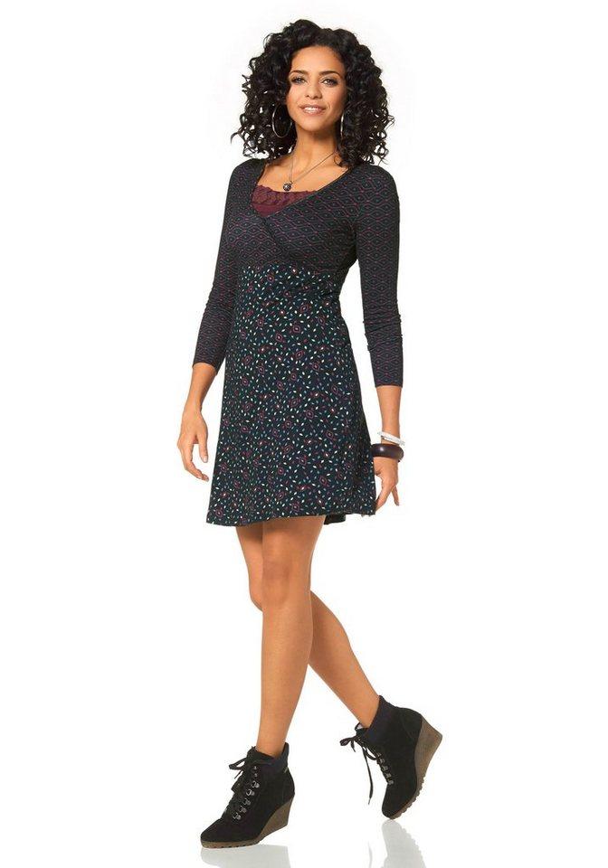 Boysen's Jerseykleid in Wickeloptik in schwarz-bedruckt