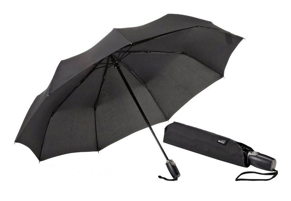 Euroschirm® Regenschirm mit Elchleder, »One For One - Elchleder-Taschenschirm« in schwarz