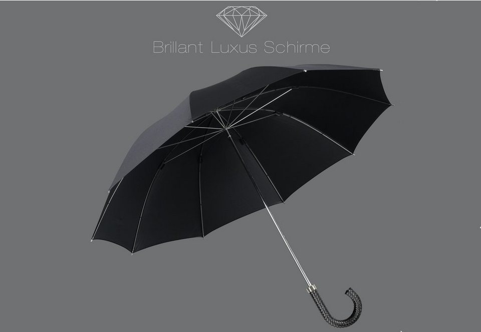 Euroschirm® Regenschirm mit Flechtleder-Griff, »Brillant Luxus Herrenschirm« in schwarz