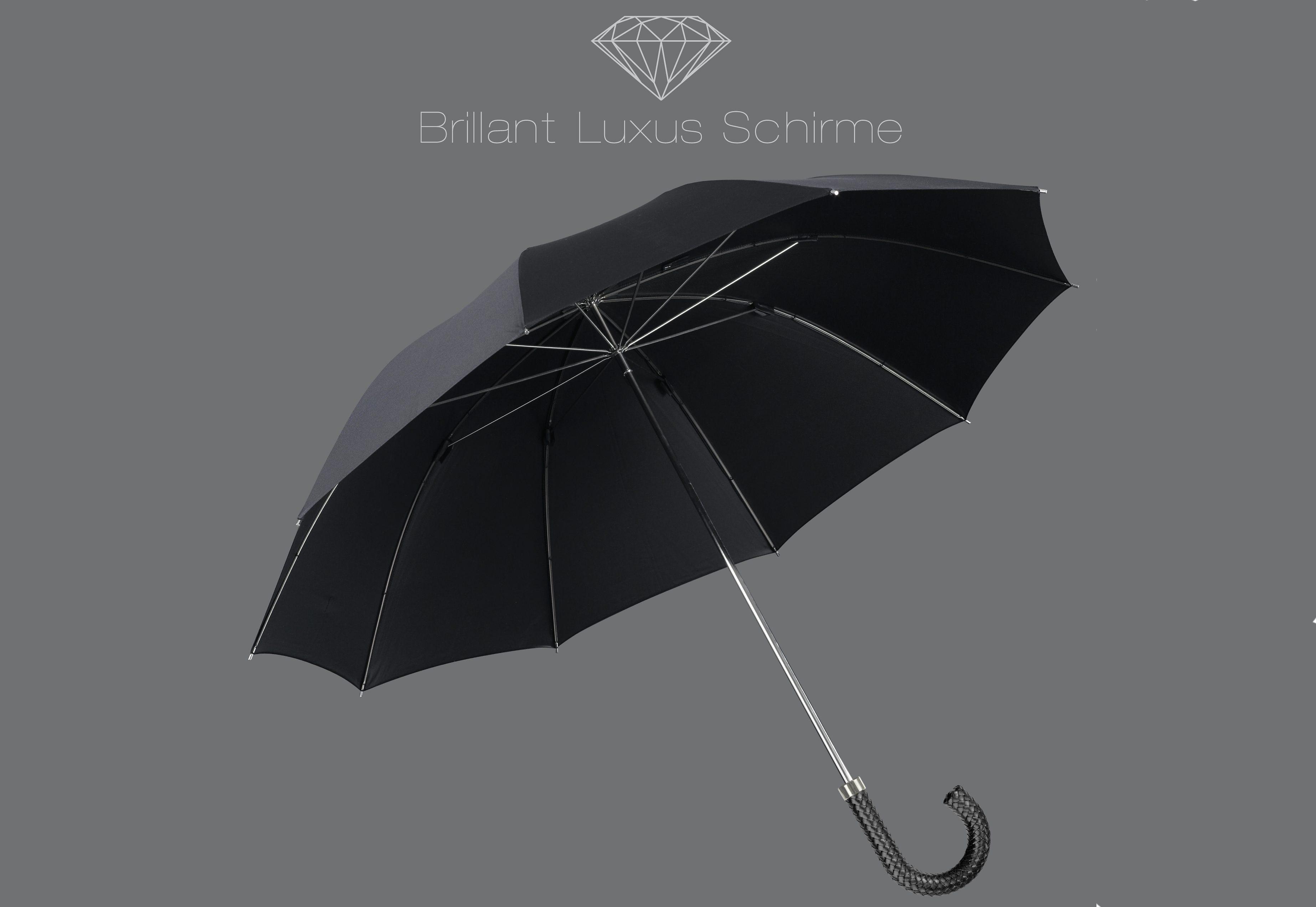 Euroschirm® Regenschirm mit Flechtleder-Griff, »Brillant Luxus Herrenschirm«