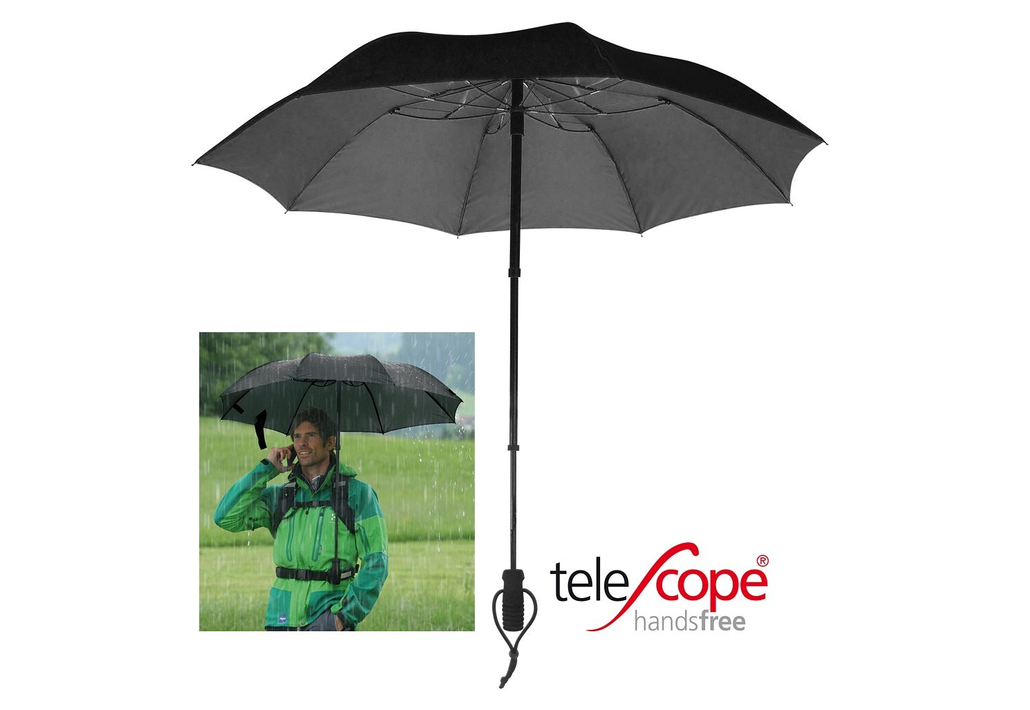 Euroschirm® Regenschirm, »teleScope handsfree«