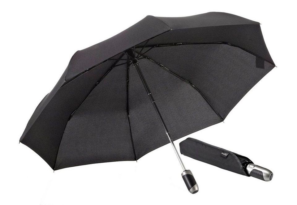 Euroschirm® Regenschirm mit Elchleder, »One For All - Elchleder-Taschenschirm« in schwarz