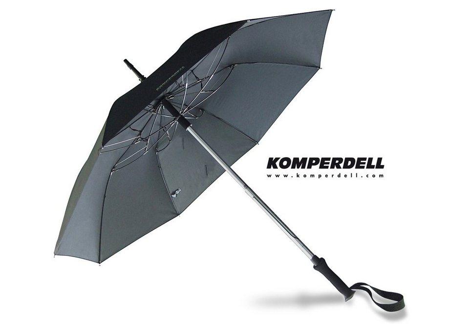 Euroschirm® Regenschirm - Wanderstock, »KOMPERDELL Teleskop-Wanderstock m. integriertem Schirm« in schwarz