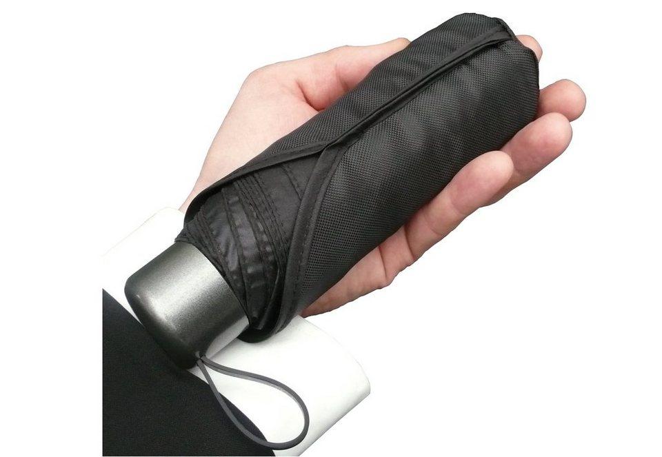 Euroschirm® Regenschirm für Damen und Herren, »Der kleine Riese - Mini-Taschenschirm« in schwarz