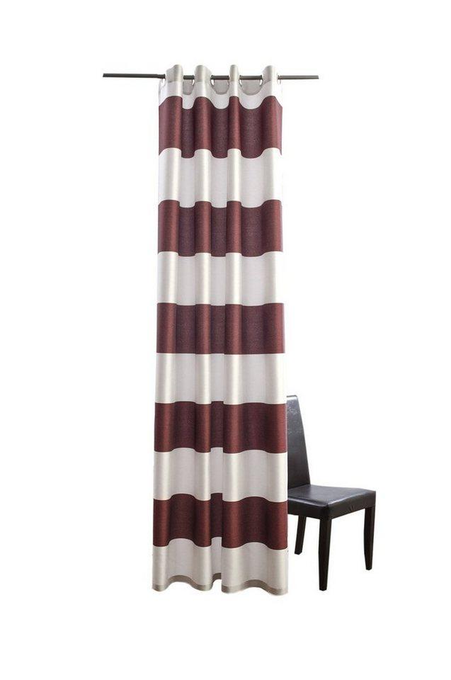 Vorhang, Homing, »Burbank«, mit Ösen (1 Stück) in rot-silber