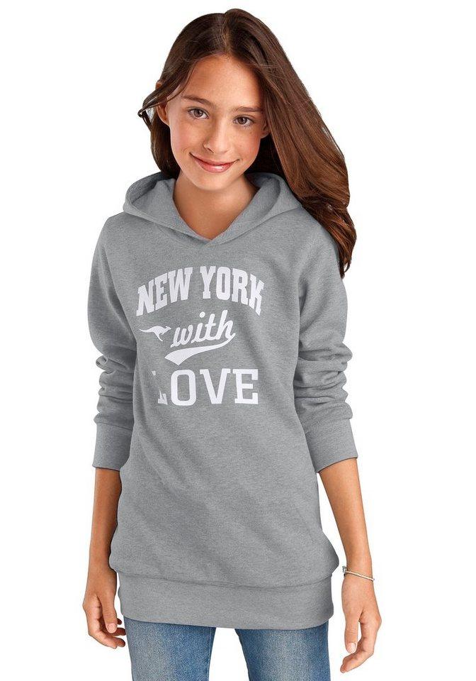 Kangaroos Langsweatshirt, für Mädchen in Graumeliert