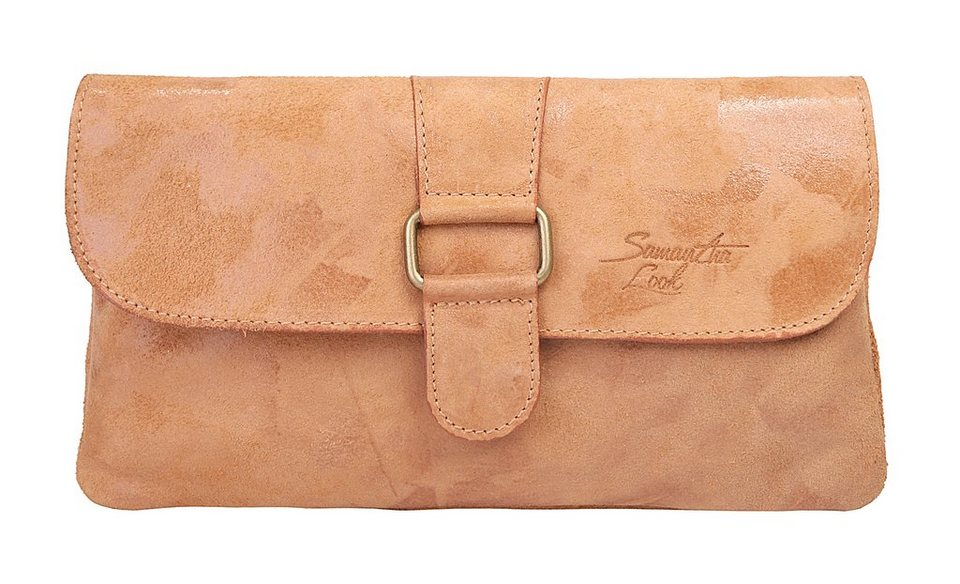 Samantha Look Leder Damen Clutch in cognac