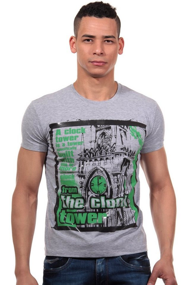 R-NEAL T-Shirt Rundhals slim fit in grau