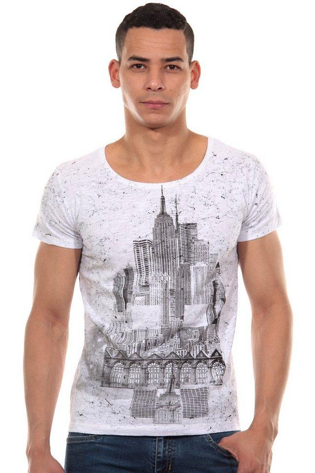 R-NEAL T-Shirt Rundhals slim fit in weiss/schwarz