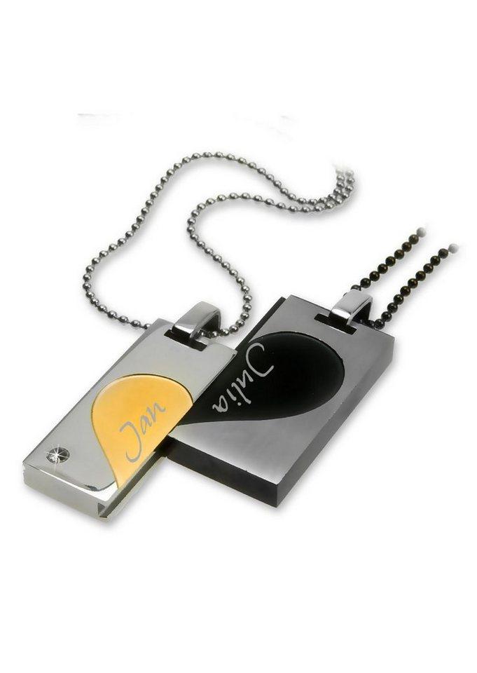 Schmuckset: Partnerschmuck bestehend aus 2 Halsketten und Anhängern »Herz« (Set 4tlg.) mit Gravur in silberfarben/goldfarben/schwarz