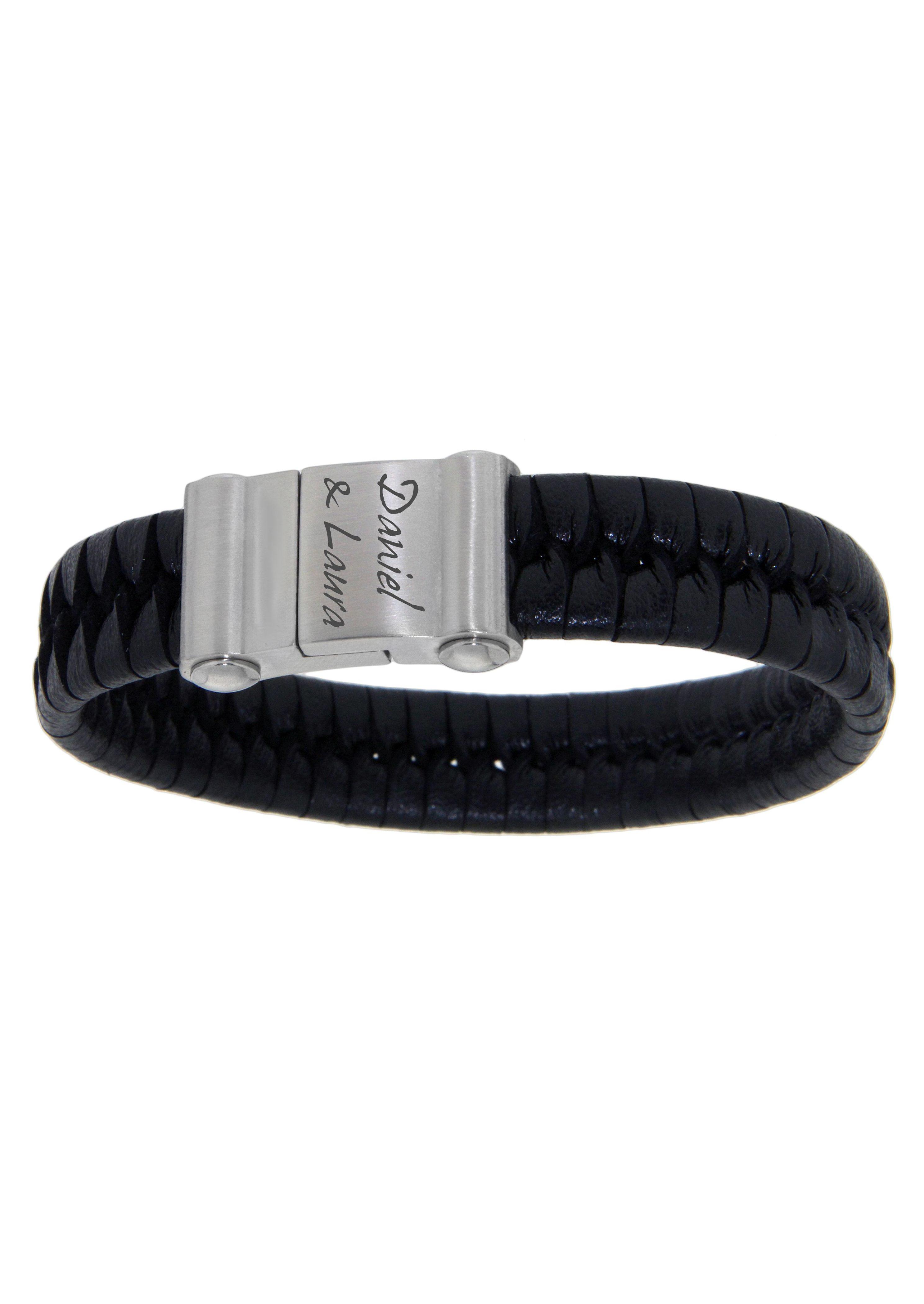 firetti Armschmuck: ID-Armband aus Leder, geflochten mit Magnetverschluß - gratis Gravur