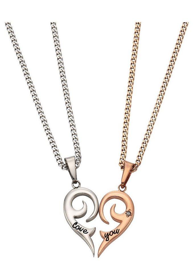 Schmuckset: Partnerschmuck bestehend aus 2 Halsketten und Anhängern »Herz« (Set 4tlg.) in silberfarben/roségoldfarben