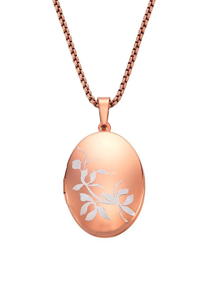 firetti Halsschmuck: Halskette »Medaillon« in Ankerkettengliederung mit Blättern