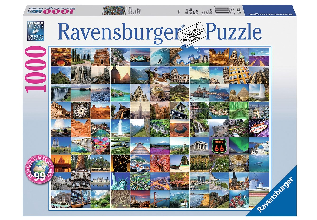 Ravensburger Puzzle »99 Beautiful Places on Earth«, 1000 Teilig, Softclick Technology