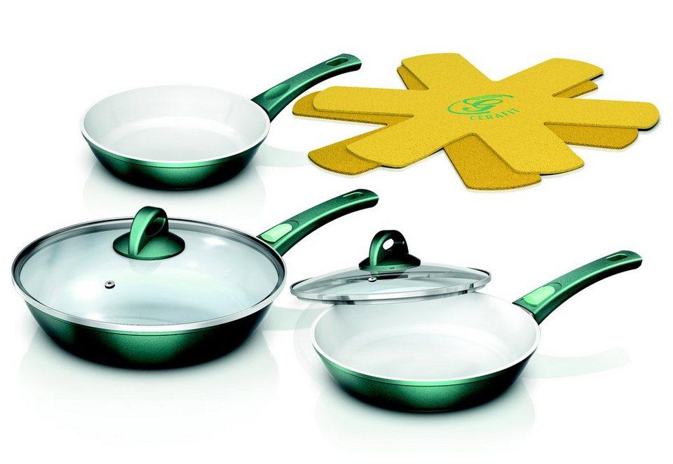 Cerafit®Fusion Pfannen-Set Smaragdgrün Edition, Genius® (7tlg.), Induktion in grün