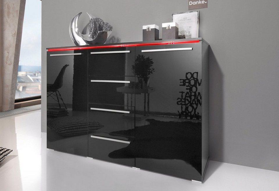 Sideboard Breite 132 cm in schwarz Hochglanz
