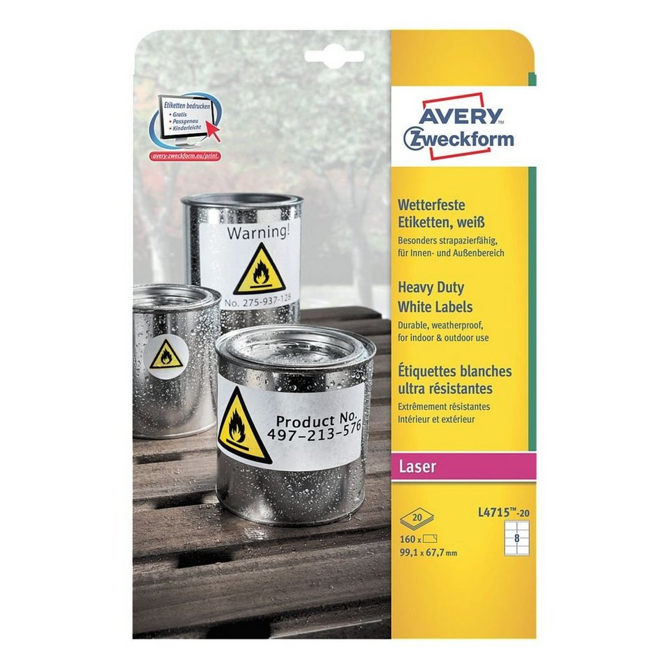 Avery Zweckform 160er-Pack Folien-Etiketten »L4715-20«