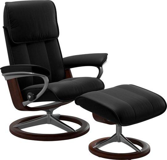 Stressless® Relaxsessel »Admiral« (Set, Relaxsessel mit Hocker), mit Hocker, mit Signature Base, Größe M & L, Gestell Braun