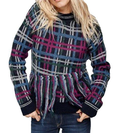Pepe Jeans Rundhalspullover »Pepe Jeans Tinas Fransen-Strick-Pullover trendiger Damen Herbst-Pulli im Karomuster Freizeit-Pullover Bunt«