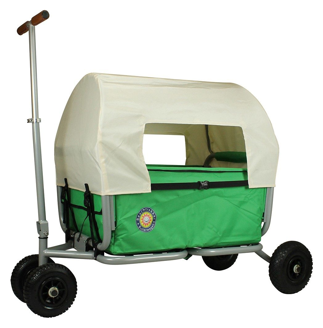 Beachtrekker Bollerwagen Life, grün mit Feststellbremse und Sonnenverdeck
