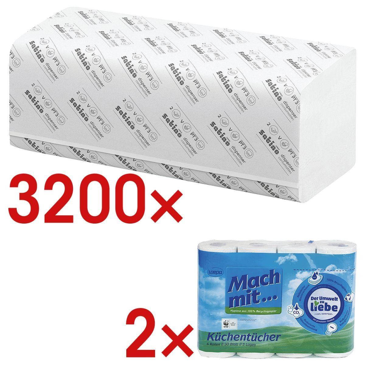 WEPACOMFORT 3200 Blatt Papierhandtücher inkl. 2 Pack Küchenrollen 1 Set