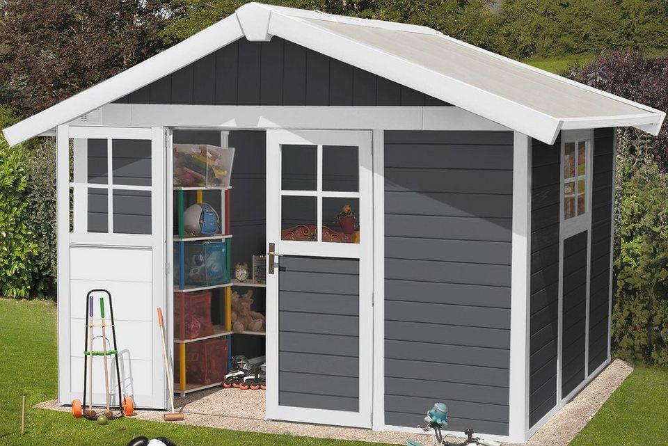 Kunststoffhaus »Deco H 7,5« in dunkelgrau/weiß
