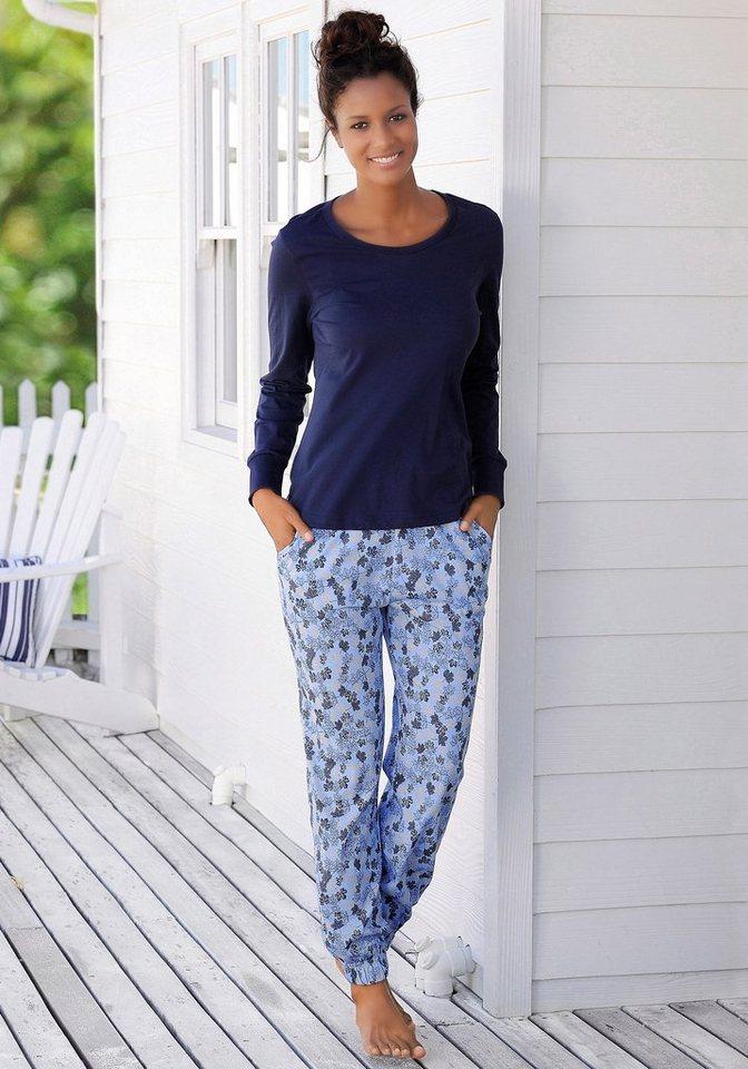 Vivance Dreams Pyjama mit Allover-Blätterprint in blau gemustert
