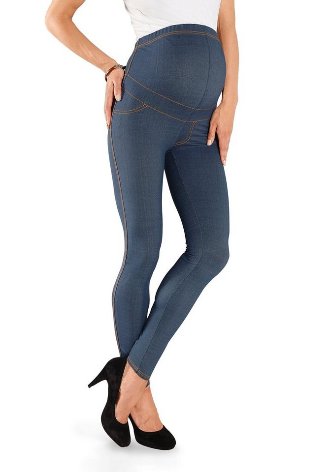 Neun Monate Umstandsleggings in Denim-Optik in blau