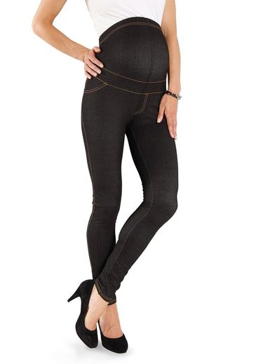 Neun Monate Umstandsleggings »Powered by Flashlights« in Black-Denim-Optik