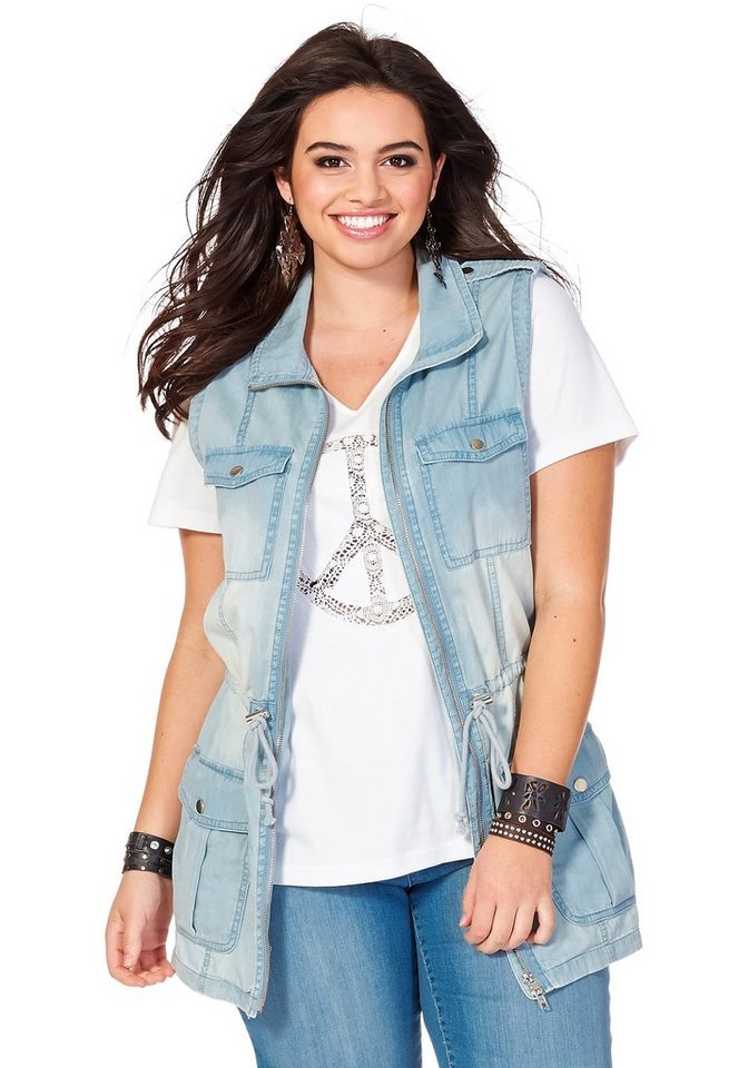 sheego Denim Rockige Jeansweste in light blue Denim