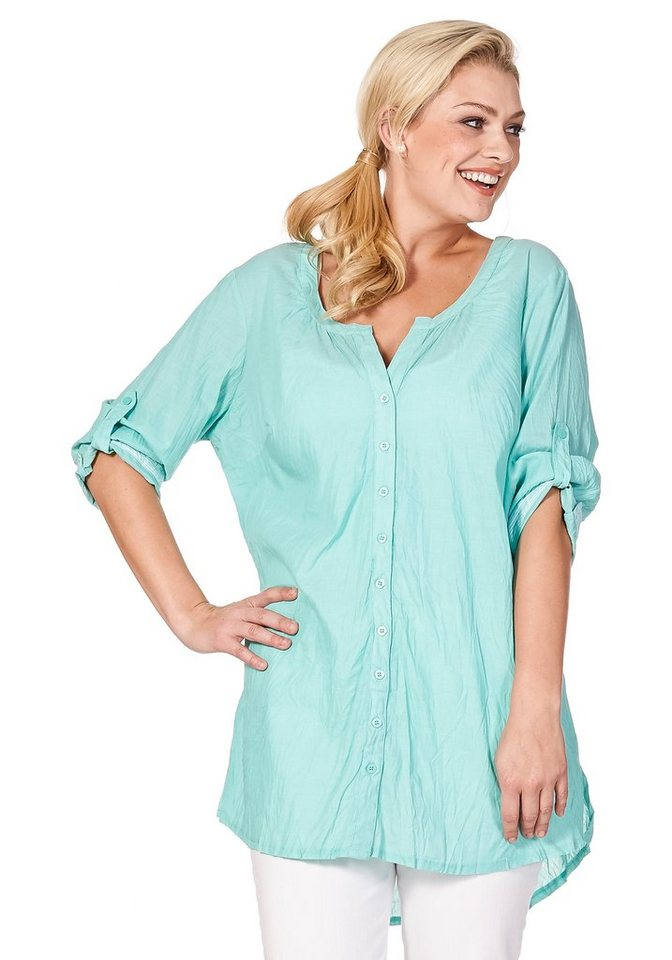 sheego Casual Longbluse in Crinkle-Optik in mint