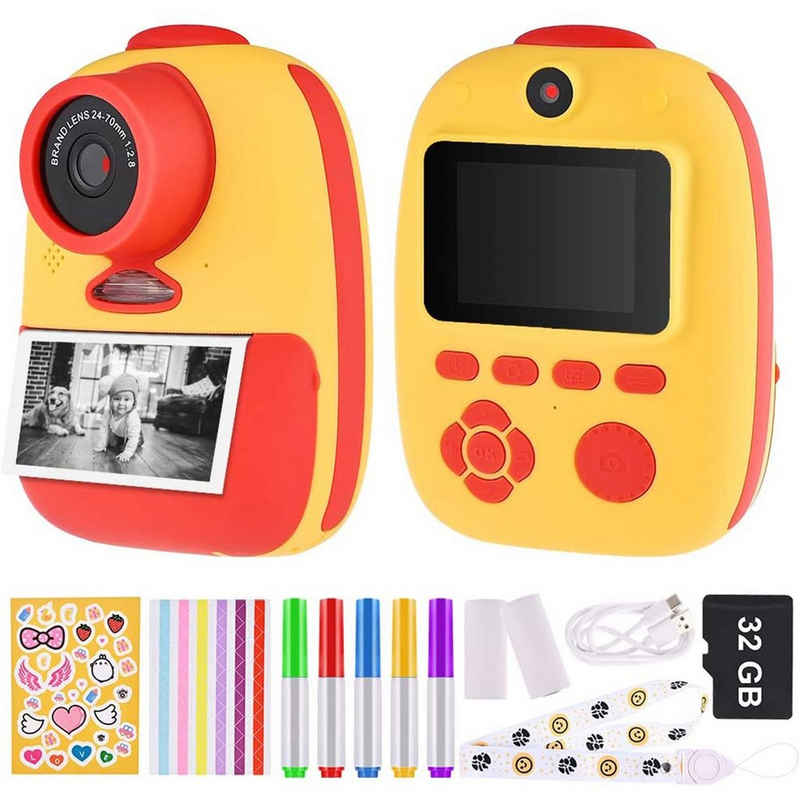 IVSO »Sofortbildkamera Kinder Kamera Digitale Fotokamera Selfie Videokamera mit 3 Rolle Druckpapier 32G Speicherkarten Lanyard Aufklebern Fotoeckenaufklebern Geschenk für Kinder« Kinderkamera